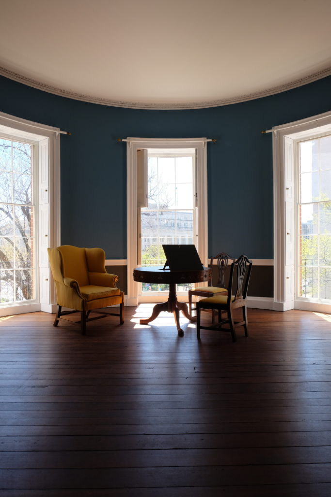 (this oval room actually served as Oval Office temporarily)